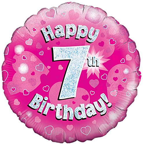 Oaktree UK 18 Inch Happy 7th Birthday Holographic Foil Design Balloons Pink Amazoncouk Kitchen Home