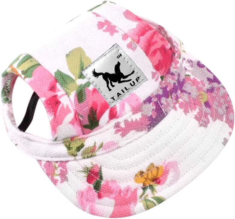 Dog Hat-Pet Baseball Cap/Dogs Sport Hat/Visor Cap with Ear Holes and Chin Strap for Small Dogs (Size S, Flowers) by Happy Hours : Pet Supplies