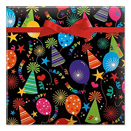 Black Birthday Hats Jumbo Rolled Gift Wrap - 67 sq. ft. Heavyweight, Tear-Resistant and peek-Proof wrap, Kids Birthday Wrapping Paper, Birthday Gift Wrap by Current