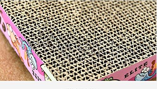 Cat Warmer Mat Rectangle Corrugated Large Corrugated Paper Cat Scratcher Board(Pink)