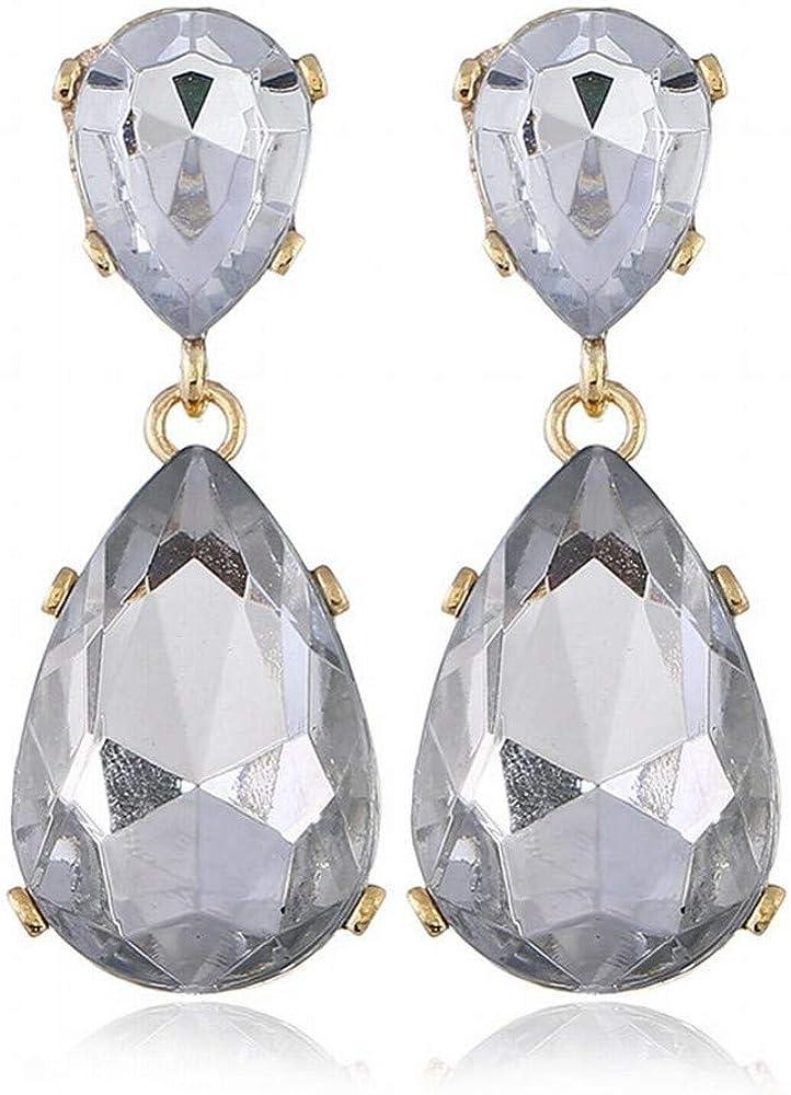 ZRDMN Pendientes de botón para mujer Pendientes de botón con piedras preciosas geométricas Gotas de cristal grandes Pendientes de gota