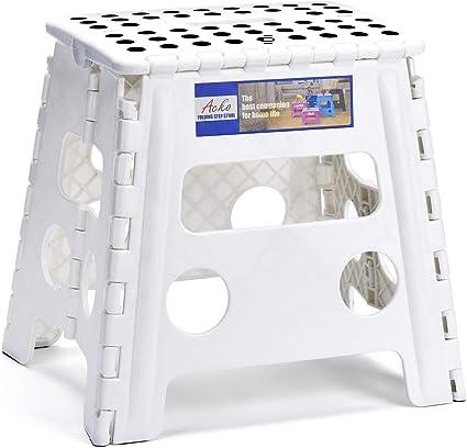 HOUSE DAY Sgabello Pieghevol 22CM Nero 2 Pezzi Pieghevole in plastica Antiscivolo per Bambini Cucina Bagno