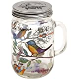 CYPRESS HOME Glass Mason Jar with Handle and Lid 24 oz. Field of Flowers (bird)