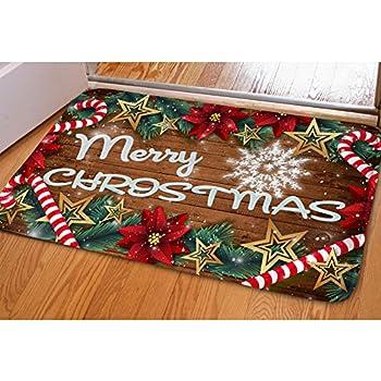 Amazon.com : Christmas Peeking Reindeer Home Doormat Non Slip ...