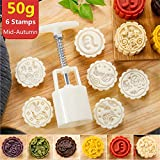 Mooncake Mold With 6 Stamps - Mid Autumn Festival Moon Cake Mold DIY Decoration Cookie Press 50g White (1 Mold 6 Stamps)