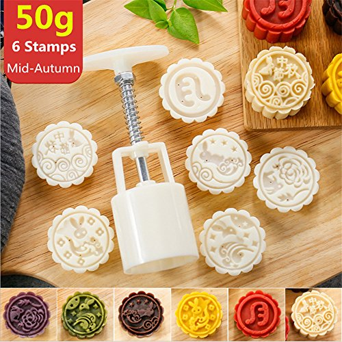 Cake Press (Mooncake Mold With 6 Stamps - Mid Autumn Festival Moon Cake Mold DIY Decoration Cookie Press 50g White (1 Mold 6 Stamps))