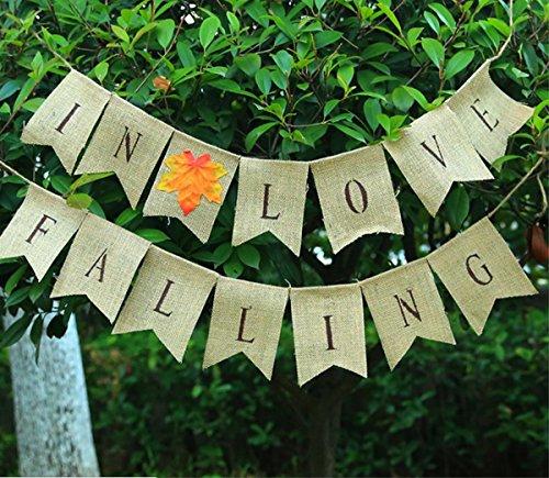 Alasida Falling in Love Burlap Bunting Banner, Thanksgiving Decor, Autumn Room Decoration -