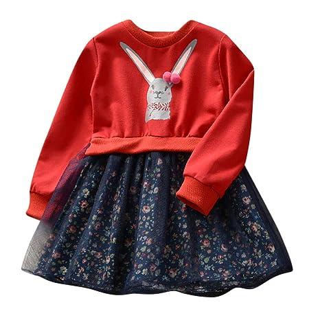 Vestidos niña, ❤ Amlaiworld Vestido de Princesa Floral de Conejito de Dibujos Animados Bebé niñas Ropa de Trajes Vestidos de Manga Larga Camisas: ...