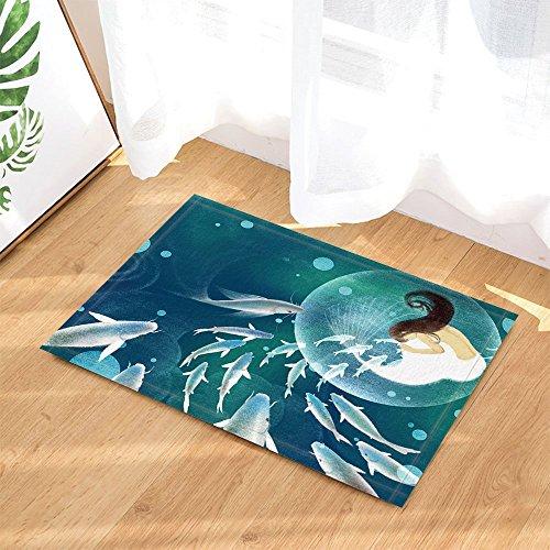 HiSoho Fantasy Bath Rugs Elf Fish Girl Mermaid Fly In Dreamworld Non-Slip Doormat Floor Entryways Indoor Front Door Mat Kids Bath Mat 15.7x23.6in Bathroom Accessories (Fish Fantasy Bath)