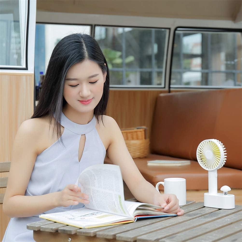 Yeying123 2 in 1 USB Portatile Superficie della scrivania Ventilatore palmare con Piccola Lampada a Fungo per casa all\'aperto,White Pink