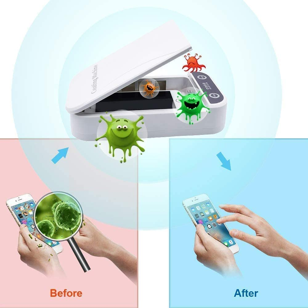 UV Smart Phone Sanitizer,Portable Cell Phone Sterilizer,Aromatherapy Function Disinfector,Phone Cleaner Box with USB Charging Compatible for iOS Android Mobile Phone Toothbrush Jewelry Watches-White