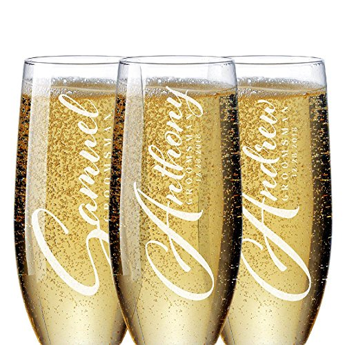 Bridal Party Gifts for Groomsmen 'Personalized Groomsman Champagne Flutes' Bachelorette Party Favors Bridal Party Groomsman Gifts for Wedding Set of 6 to 1#D21 ()