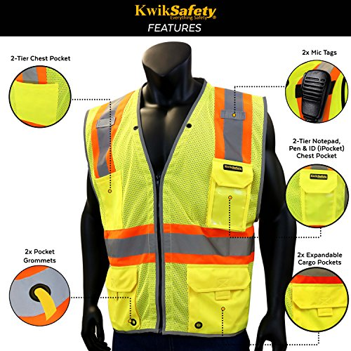 KwikSafety PILOT | Drone Safety Vest | Class 2 ANSI Compliant FAA Licensed | 360° High Visibility Reflective UAG Work Wear | Hi Vis Certified Commercial Pilot Men & Women Regular to Oversized | XL by KwikSafety (Image #3)