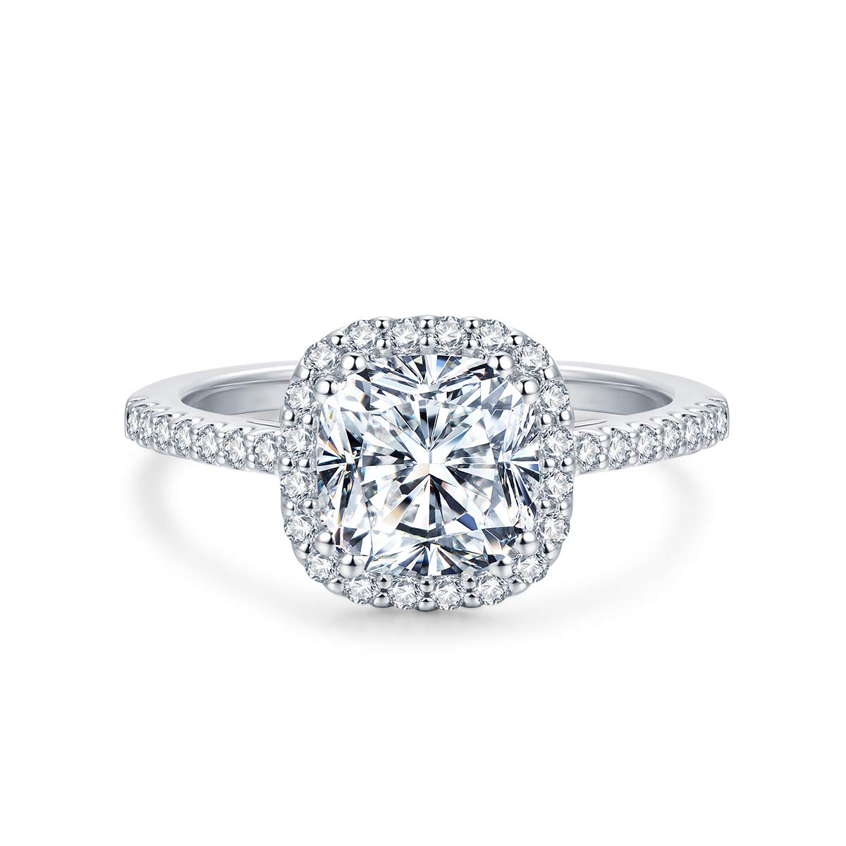 2.5ct Cushion Cut Cut Petite Micropave Floating Halo Simulated Diamond Cubic Zirconia CZ Engagement Rings for Women, 3.26ctw (5)
