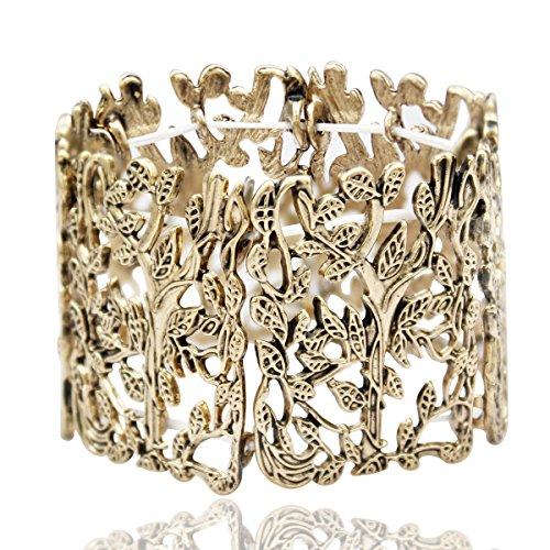 RechicGu Vintage Gold Vintage Greek Tree Life Branch Leaf Twig Stretch Wide Toga Bracelet Bangle Cuff - Jewelry Tree Twig