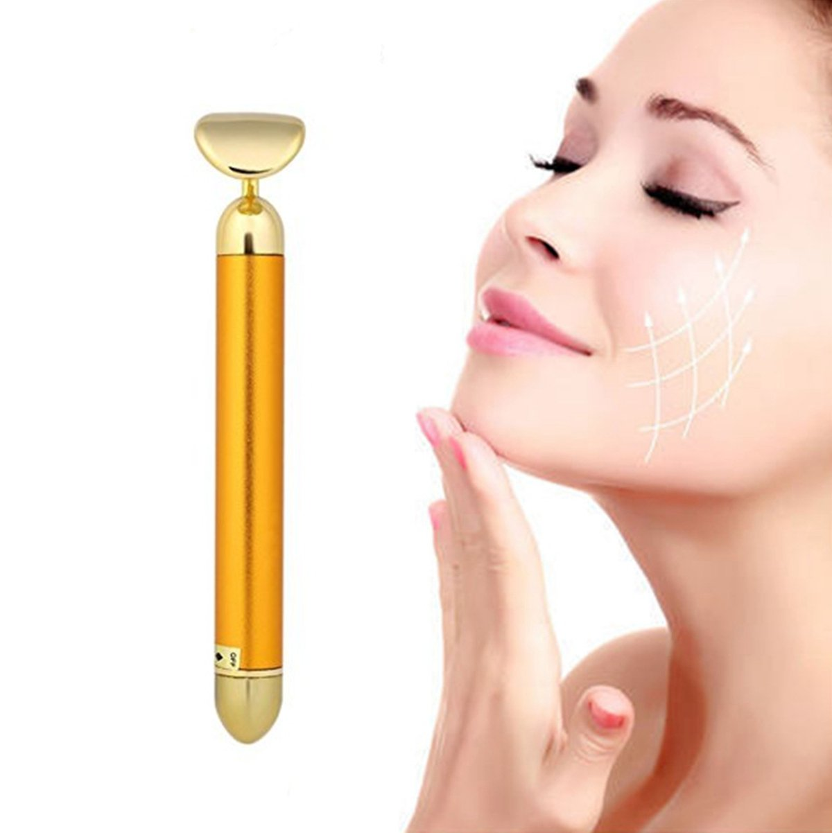 Beauty Bar 24k Golden Pulse Facial Massager, Round Roller Energy Gold Stick Skincare Wrinkle Treatment Body Care, Eliminate Dark Circles (Round Roller)