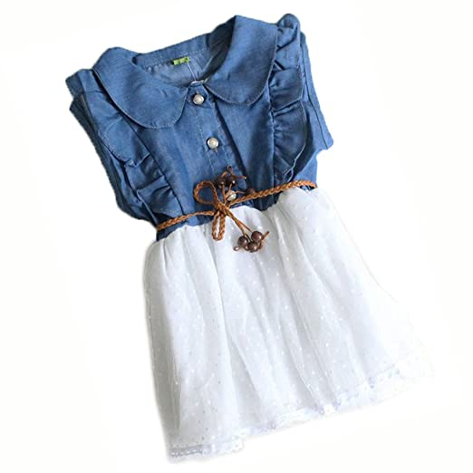 0310514c45fd Amazon.com  Baby Girls Child Princess Party Kid Summer Denim Jeans Dress  Skirt (2-3yaers
