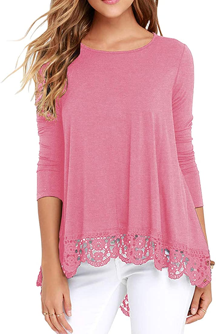QIXING Womens Tops Short Sleeve Lace Trim O-Neck A-Line Tunic Blouse