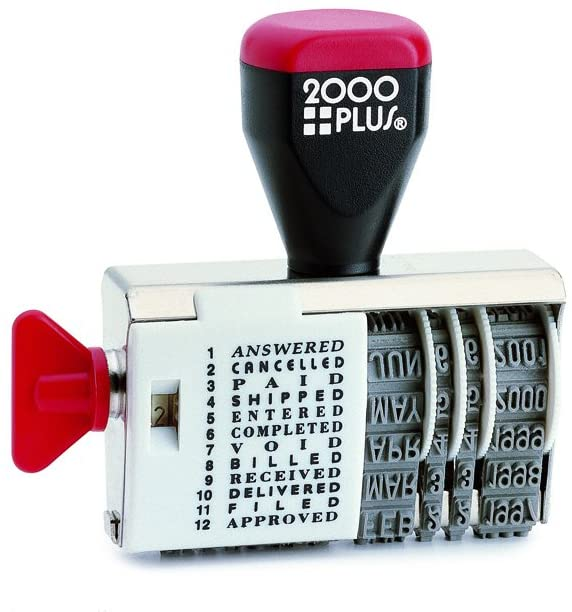 "2000 PLUS Traditional Date and 12 Phrase Stamp, Answered, Cancelled, Paid, Shipped, Entered, Completed, Void, Billed, Received, Delivered, Filed, Approved, 3/8"" x 1-1/4"" Impression, Black Ink(010180)"