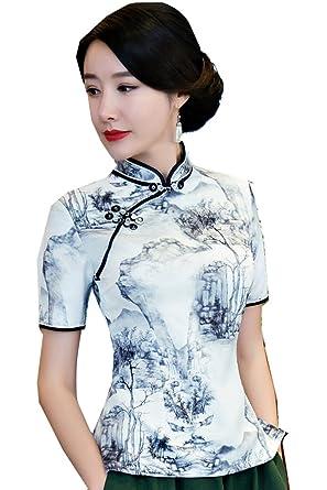 725e2d428f3 Shanghai Story Short Sleeve Cheongsam Top Chinese Blouses Women s Qipao  Shirt S White
