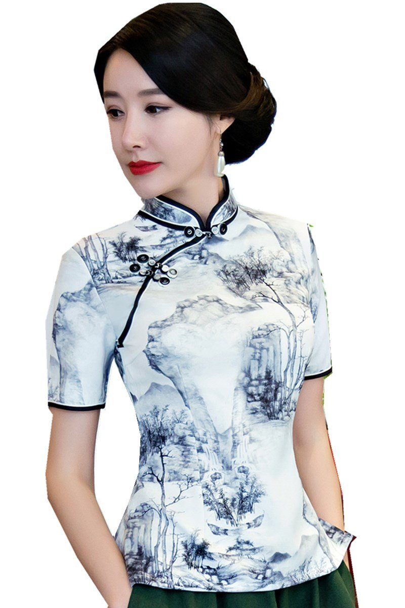 Shanghai Story Short Sleeve Cheongsam Top Chinese Blouses Womens Qipao Shirt 3XL