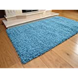 Shaggy Thick Modern Luxurious Teal Light Blue Rug High Pile Long Pile Soft Pile Anti Shedding Available in 8 Sizes (80cm x 150cm 2ft 7 x 4ft 11) by SuperRugStore