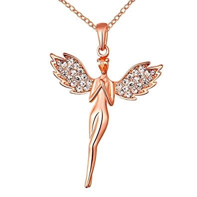 Yellow Chimes An angel pure soul with wings 18K Rose Gold Plated pendant for Girls and Women. Perfect for your angel! Pendants at amazon