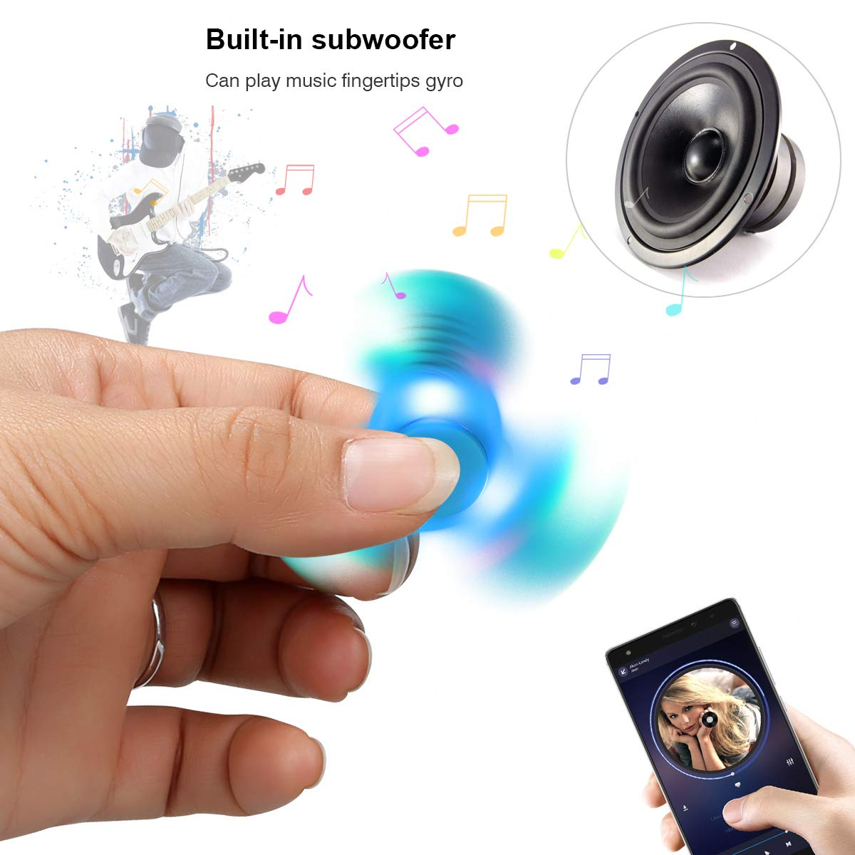 Autism Kids Adult Toy Gifts Childrens Wireless Speakers Music Fidget Spinner Toy Reducer EDC Hand Spinner for ADHD Kivors Speaker Fidget Spinner Anxiety Red