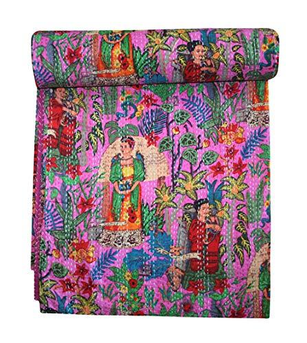 thehandicraftworld, Indian Handmade Frida Kahlo Print Kantha Quilt Boho Kantha Blanket Bed Cover Kantha Quilt
