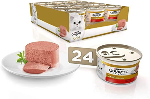 Purina Gourmet Gold Mousse comida para gatos con Buey 24 ...