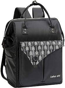 Lekesky Laptop Backpack 15.6 inch Waterproof Work Travel Bag for Women and Men, Black