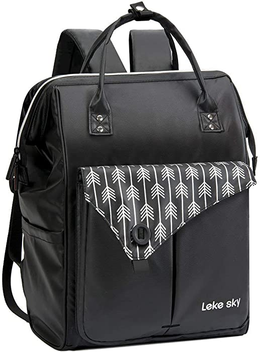 Lekesky Laptop Backpack 15.6 inch Waterproof Work Travel Bag for Women and Men, Black