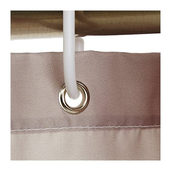 AmazonBasics Mold and Mildew Resistant Shower Curtain with Hooks, 72-Inch, Gray Stripe - Water-repellent printed fabric shower curtain with a gray stripe pattern Made with a mold- and mildew-resistant polyester fabric for long-lasting use and good looks Weighted hem helps keep it in place; rust-resistant metal grommets along reinforced top header - shower-curtains, bathroom-linens, bathroom - 61u8O0pFO9L. SS570  -