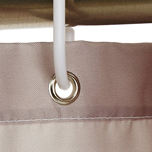 Amazon Basics Shower Curtain with Hooks, 72-Inch, Gray Stripe