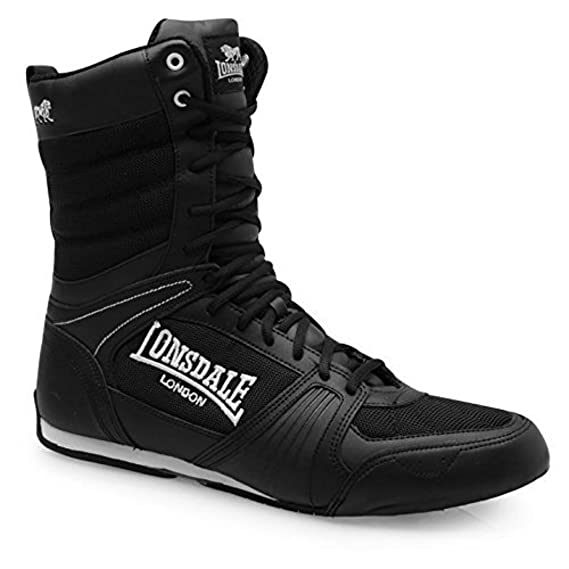 new style e3cd8 b60d3 Lonsdale Mens Contender Boxing Boots Full Lace Up Sport Shoes Trainers  Footwear BlackWhite UK