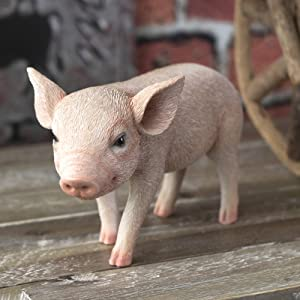 SUMMIT COLLECTION Farmhouse Decor Barnyard Designs Adorable Pig Figurines Tall Kitchen Dining Room Realistic Looking Pig Statue (Standing 8 inch W)