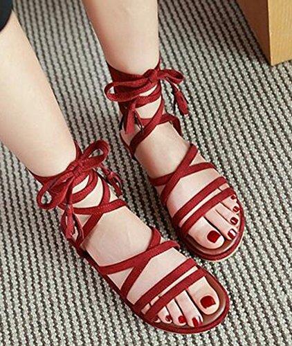 Easemax Womens Fashion Open Toe Flat Faux Suede Self Tie Gladiator Sandals Red gHGIT1Av4S