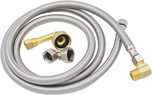 """TT FLEX UPC Approved Flexible Stainless Steel Braided Dishwasher Hose,3/8""""comp3/8""""comp,5FT"""