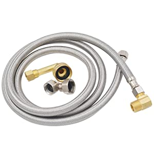 "TT FLEX UPC approved Flexible stainless steel braided dishwasher hose,3/8""comp3/8""comp,5FT"
