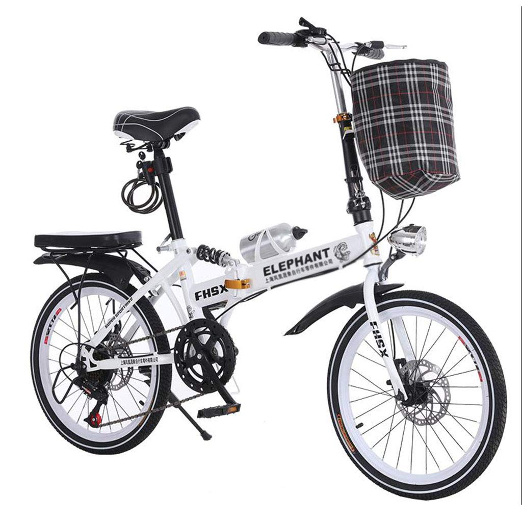 折りたたみ自転車 自転車折畳み式ディスクブレーキ20インチ衝撃吸収ユニセックス超軽量ポータブル折りたたみ自転車 (Color : 白, Size : 150 * 35 * 110cm) B07JD8BTXS  白 150*35*110cm