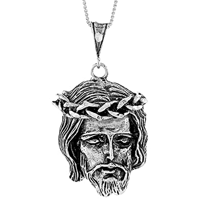 Amazon sterling silver christ with crown of thorns pendant 1 1 sterling silver christ with crown of thorns pendant 1 12 inch aloadofball Choice Image