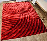 5 Feet By 7 Feet Fuzzy Fluffy Shiny Shimmer Contemporary Modern Soft Plush Shag Shaggy 3D Pile Rug Carpet Living Room Bedroom Area Rug Large Red ( SAD 259 Red ) Review