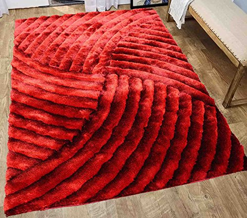 5 Feet By 7 Feet Fuzzy Fluffy Shiny Shimmer Contemporary Modern Soft Plush Shag Shaggy 3D Pile Rug Carpet Living Room Bedroom Area Rug Large Red ( SAD 259 Red ) (Shag Shiny)