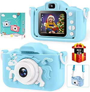 Bosszi Kids Digital Camera Mini Camcorder for Boys and Girls Age 3-10   2'' Digital Dual Camera   20.0MP HD Video Camcorder Anti-Drop Toddler Cartoon Selfie Camera for Gift - with 32G SD Card (Blue)