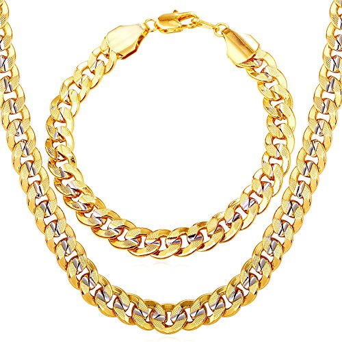 U7 Men 18K Gold Plated Cuban Chain Hip-hop Rapper's Chunky Necklace Bracelet Set Fashion Jewelry(30