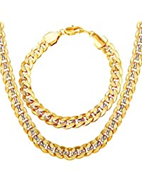Men Two-Tone Gold Chain Platinum & 18K Gold Plated Cuban...