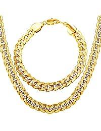 """Men Two-Tone Gold Chain Platinum & 18K Gold Plated Cuban Curb Chain Necklace Bracelet Set (18""""-30""""/8.3"""")"""
