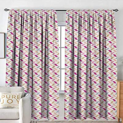 NUOMANAN Blackout Curtains Zig Zag,Bold Short Cut Skewed Lines Herringbone Style Chevron Tiling in Soft Pastel Colors,Multicolor,Rod Pocket Drapes Thermal Insulated Panels Home décor 84