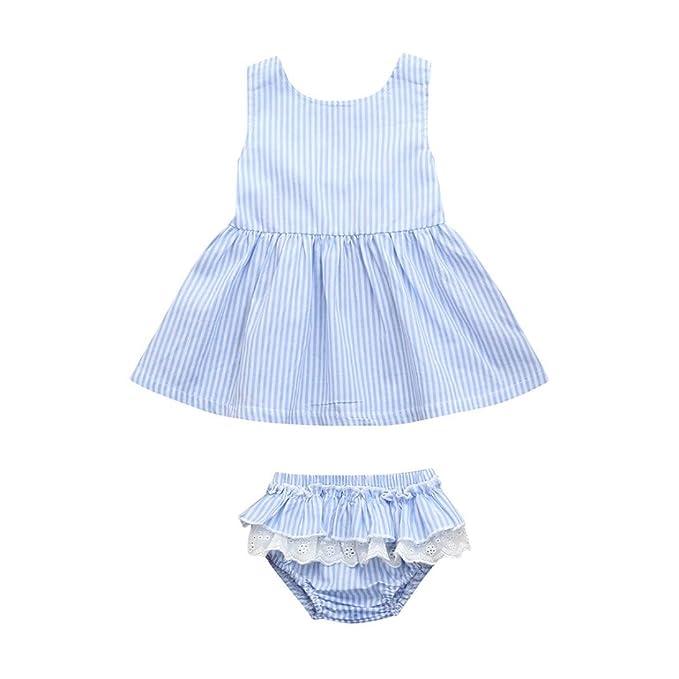 Bebés Recién Nacidos, Zolimx 💕0-2 Años Niñas Bebé Backless Vestido a Rayas