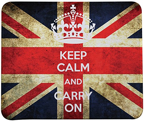 Keep Calm And Carry On Mouse Pad,Retro Style British Flag Mouse Pads By VIVIPOW(TM)